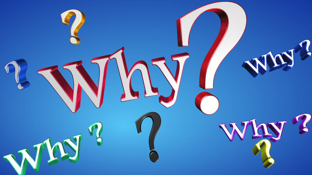the word Why repeated and surrounded by question marks